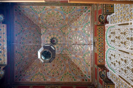 Photo for FES, MOROCCO. Pattern design element of University of Al Quaraouiyine or Al-Karaouine mosque - the oldest known university in the world, located in the medina. - Royalty Free Image