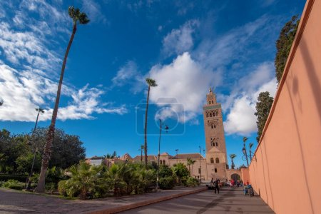 Photo for The Koutoubia Mosque or Kutubiyya Mosque and minaret located at medina quarter of Marrakech , Morocco. The largest in Marrakesh - Royalty Free Image