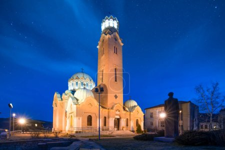 Photo for Cathedral temple Nativity of Mary Church ( Birth of the Holy Mother or Rozhdestvo Bogorodichno ) in Veliko Tarnovo, Bulgaria at night and with lights. Eastern Orthodox - Royalty Free Image