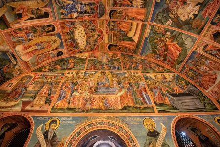 Photo for Veliko Tarnovo, Bulgaria - 12 March, 2019: Inside interior of the Painted medieval orthodox bulgarian Monastery of the Holy Transfiguration of God - Royalty Free Image