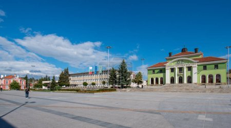 """Photo for Panagyurishte, Bulgaria - 05 October 2019: Community center """"Videlina-1865"""" - one of oldest community centers in Bulgaria. An old Bulgarian Revival historical building on the central square. - Royalty Free Image"""