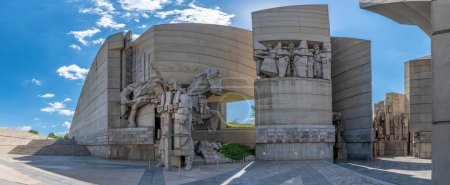 Photo for SHUMEN, BULGARIA - 09.05.2020: The Monument to 1300 Years of Bulgaria, also known as the Founders of the Bulgarian State designed by Bulgarian sculptors Krum Damyanov and Ivan Slavov. - Royalty Free Image