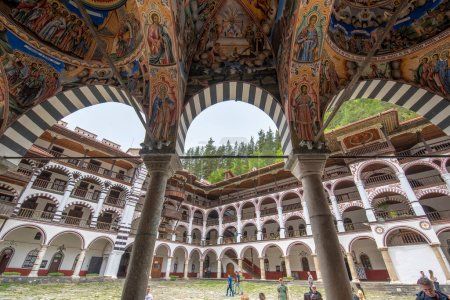 Photo for RILA, BULGARIA - 17.05.2020: Beautiful decoration of the Orthodox Rila Monastery, a cultural heritage monument in Rila mountain. Saint Ivan Rilski church is the oldest and largest. Unesco site - Royalty Free Image