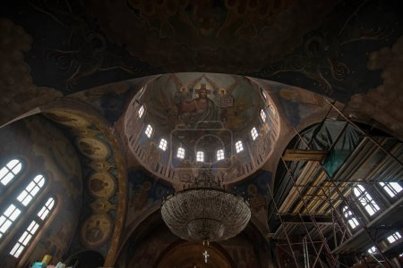 Photo for SANDANSKI, BULGARIA - 22.05.2020: Interior of the orthodox church of St. George and cupola - Royalty Free Image