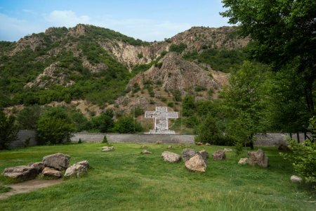 Photo for Cross in the mountain in memory of bulgarian prophet Baba Vanga at Rupite, Petrich, Bulgaria - Royalty Free Image
