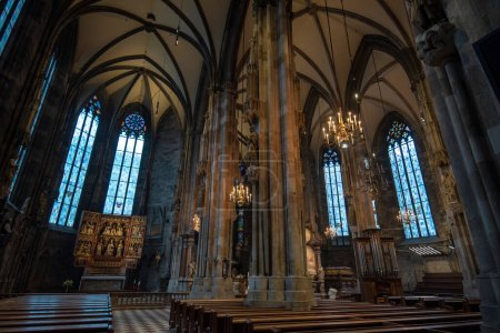 Vienna, Austria - 28 January, 2020: St. Stephen's Cathedral beautiful interior in center of Wien. Roman catholic church with etched glass windows and baroque ornament in a gothic style. Stephansdom