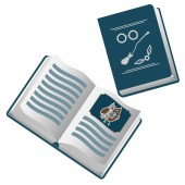 The open cartoon book about Harry Potter with magic broom golden snitch and eyeglasses on the cover