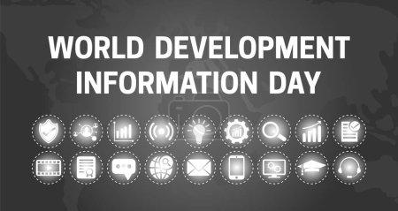 Weltentwicklungsinformationstag Schwarzer Hintergrund Illustration mit Symbolen