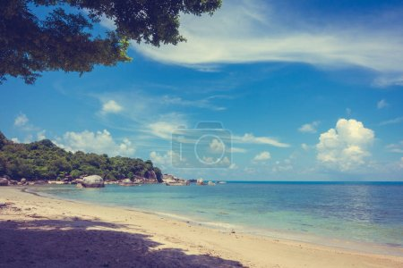 Beautiful outdoor tropical beach and sea in paradise island with coconut palm tree for holiday travel and vacation