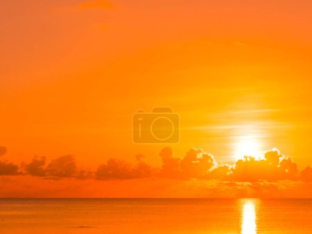 Photo for Beautiful tropical beach and sea ocean landscape with cloud and sky at sunrise or sunset time for travel and vacation - Royalty Free Image