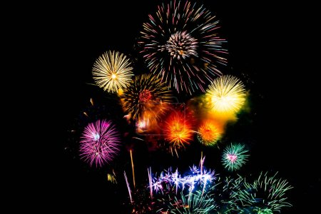 Photo for Beautiful color fireworks display on black sky at night for celebration - Royalty Free Image