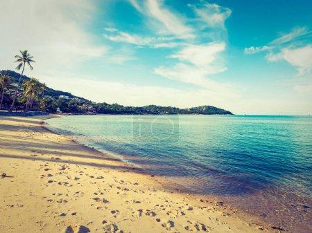 Photo pour Belle plage tropicale et mer avec cocotier pour les voyages et les vacances - image libre de droit