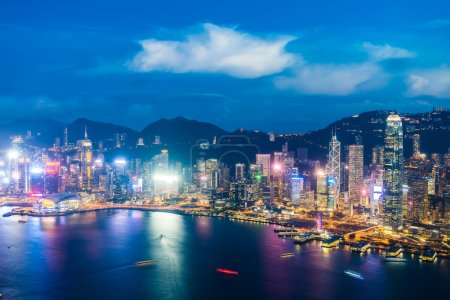 Photo for Beautiful architecture building exterior cityscape of hong kong city skyline at night - Royalty Free Image