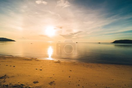 Photo for At sunset time on the tropical paradise island beach and sea with coconut palm tree for holiday and vacation - Royalty Free Image