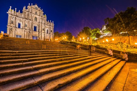 Beautiful old architecture building with ruin of st pual church landmark of macau city at twilight night time