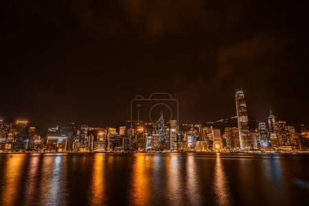 Photo for Beautiful architecture building cityscape in hong kong city skyline at twilight and night - Royalty Free Image
