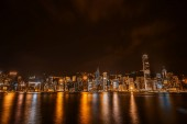 """Постер, картина, фотообои """"Прекрасная архитектура здания городского пейзажа в Гонконге город в Сумерки и ночью"""""""