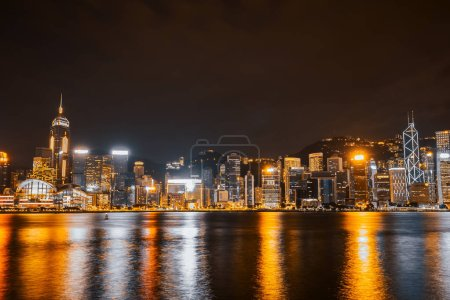 Beautiful architecture building cityscape in hong kong city skyline at twilight and night