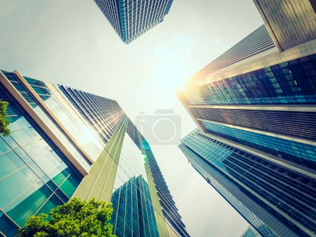 Photo for Beautiful skyscraper with architecture and glass window exterior of building around business area in the city - Royalty Free Image