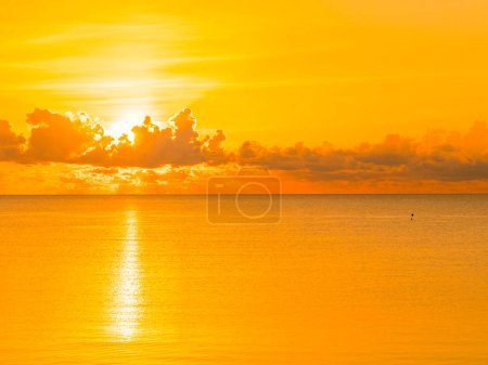 Beautiful tropical beach and sea ocean landscape with cloud and sky at sunrise or sunset time for travel and vacation