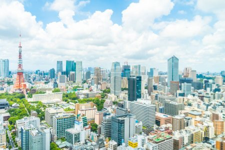 Photo for Beautiful architecture building in tokyo city skyline Japan - Royalty Free Image