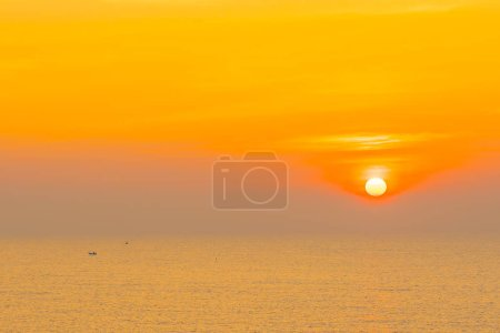 Photo for Beautiful landscape of sea ocean for leisure travel and vacation at sunrise or sunset time - Royalty Free Image