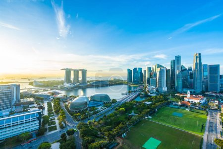 Photo for Beautiful architecture building exterior cityscape in Singapore city skyline at sunrise time - Royalty Free Image
