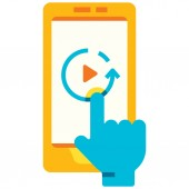 Replay smartphone flat illustration
