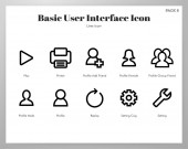 Basic UI icons Line pack