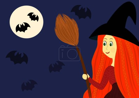 Photo for Cute helloween witch with broom illustration - Royalty Free Image