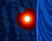 """Постер, картина, фотообои """"2d иллюстрация. Мультфильм рисовать стиль пространства картины. Глубокое огромное пространство. Звезды, планеты и луны. Различные научно-фантастические творческие фоны. Космическое искусство. Инопланетные солнечные системы. Планеты и Луны."""""""