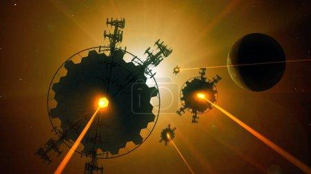 Photo pour Fond abstrait de science-fiction, papier peint futuriste et concept de technologie. Connexion de données et future planète robotique dans l'espace lointain. Ingénierie extraterrestre et clone - image libre de droit