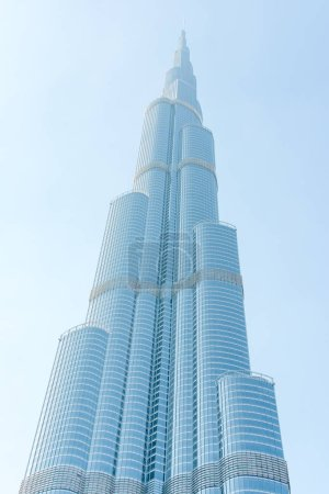 Tall construction on clean sky background