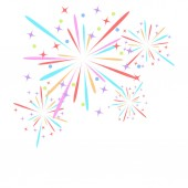 Fireworks rocket explodes in colored stars Design element on isolated white background Abstract vector illustration