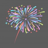 Fireworks rocket explodes in colored stars Design element isolated on dark background Abstract vector illustration