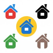 Set house icon The sign of the house A symbol of real estate coming home Circle button-flat-icon Vector design elements