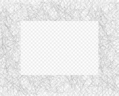 Hand drawn chaotic line shading pencil frame Oblique grey thin scribble Doodle daub Vector design element with the ability to overlay Isolated transparent background