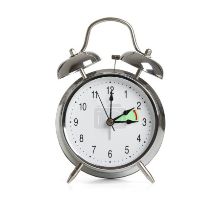 Clock time changing to winter time isolated on whi...
