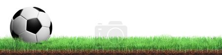 Photo pour Cour de soccerball vue rapprochée dans l'herbe, isolé sur fond blanc - image libre de droit