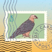 Postage stamp with Bearded vulture vector illustration