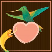 greeting card with colorful colibri bird on heart and beautiful flower romantic concept