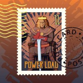 Postage stamp with hand drawn king on throne with text power load