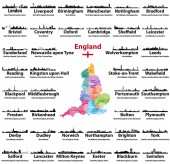 England cities skylines icons with names of city region and ceremonial county Flag and map of England