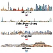 cityscapes of Moscow Saint Petersburg Istanbul and Athens Flags of Russia Turkey and Greece Vector  high detailed illustration