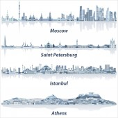 vector cities skylines of Moscow Saint Petersburg Istanbul and Athens in soft blue color palette
