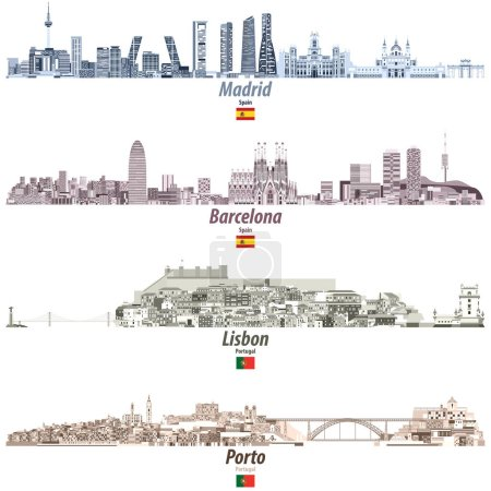 Illustration for Vector illustration of Madrid, Barcelona, Lisbon and Porto abstract cities skylines in brightful color palette - Royalty Free Image