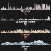vector abstract illustration of Moscow Saint Petersburg Istanbul and Athens cities skylines at night in bright color palettes isolated on black background
