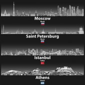 vector illustration of Moscow Saint Petersburg Istanbul and Athens skylines at night in grey scales color palette with bright lights illumination