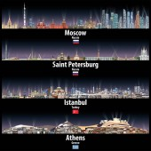vector illustration of Moscow Saint Petersburg Istanbul and Athens skylines at night with bright city lights