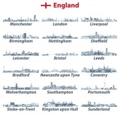 England largest cities vector skylines illustrations in tints of blue color palette All elements separated in editable and detachable layers Vector illustration